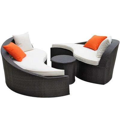 Modway Magatama Outdoor 3 Piece Seating Group with Cushions