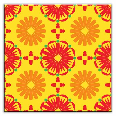 Oscar & Izzy Folksy Love Decorative Tile in Kaleidoscope Yellow-Orange-Red