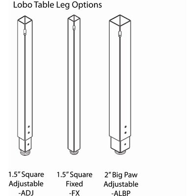 WB Manufacturing Quick Ship Lobo Fixed Height Table