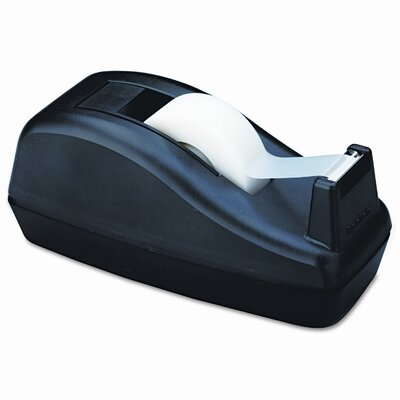 3M Deluxe Desktop Tape Dispenser, Attached 1&quot; core, Heavily Weighted, Black                                                     
