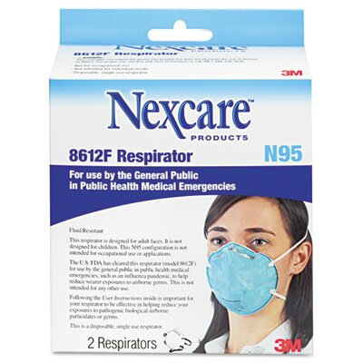3M N95 Particle Respirator 8612F Mask, 2/Pack