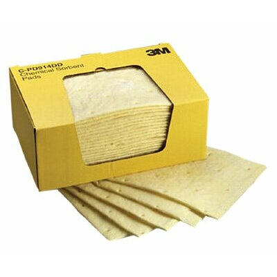 "3M High-Capacity Chemical Sorbent Pads - 9-1/4""x14-1/2"" pad chemical sorbent 25 pads per"