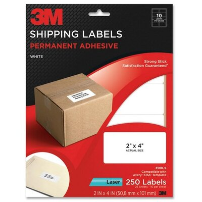 3M Shipping Labels,Laser Paper,2&quot;x4&quot;,250/PK,White