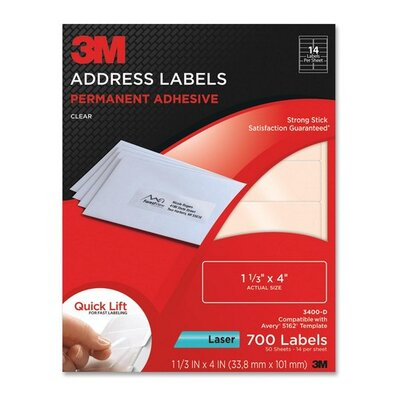 "3M Address Labels,Laser Film,1-1/3""x4"",700/PK,Clear"