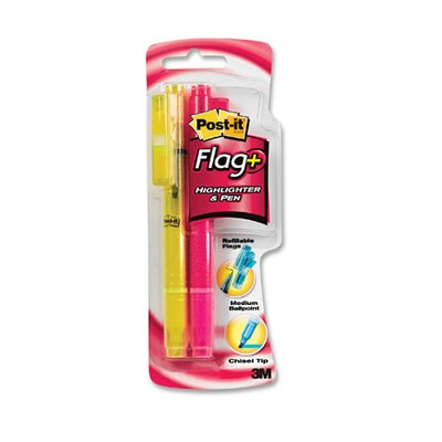 3M Flag Pen/Highlighters w/ 50 Flags, Yellow/Pink Highlighter, 2-Pack