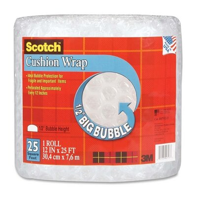 3M Cushion Wrap, 12&quot;x25', 1/2&quot; Bubble, Clear