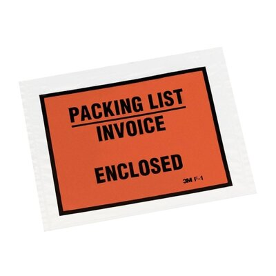 "3M Packing List Envelope, Back-loading, 5-1/2""x4-1/2"", Orange"