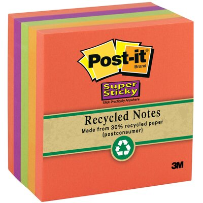 "3M 390 Sheet 3"" x 3"" Post-it Super Sticky Recycled Note"
