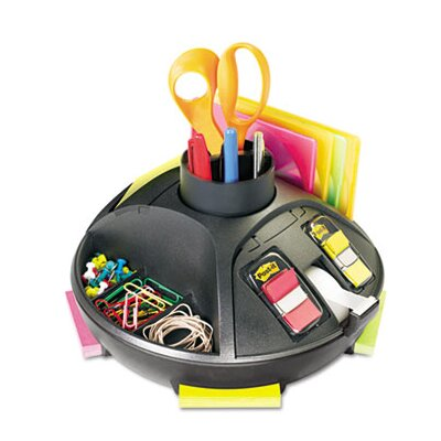 3M Rotary Self-Stick Notes Dispenser, Plastic, Rotary, 9 1/2 dia x 5 1/2h, Black
