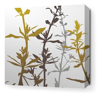 Inhabit Morning Glory Wildflower Stretched Wall Art in Silver and Olive