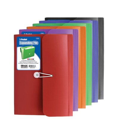 Bazic 7-Pocket Letter Size Poly Expanding File (Set of 12)