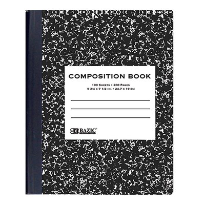 Bazic Black Marble Composition Book (Set of 48)