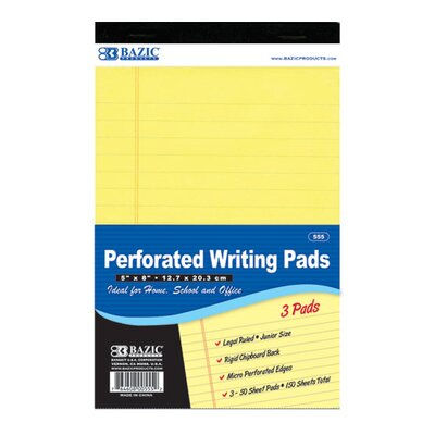 Bazic Jr. Perforated Writing Pad (Set of 24)