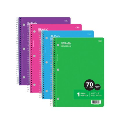 Bazic 1-Subject Spiral Notebook (Set of 24)