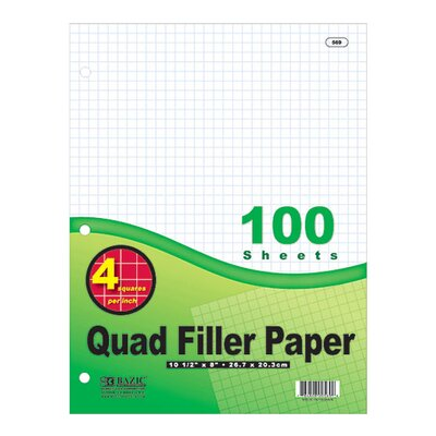 Bazic Quad-Ruled Filler Paper (Set of 36)