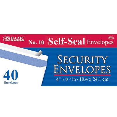 Bazic 40 Ct. Self-Seal Security Envelopes (Set of 24)