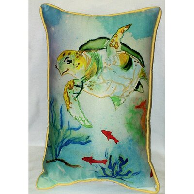 Betsy Drake Interiors Coastal Sea Turtle Indoor / Outdoor Pillow