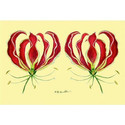 Betsy Drake Interiors Garden Red Lily Door Mat