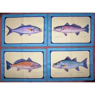Betsy Drake Interiors Assorted Fish Place Mat (Set of 4)