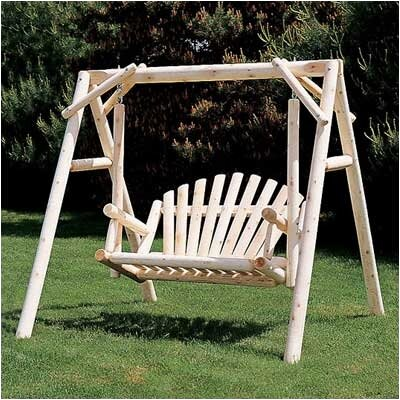 Rustic Natural Cedar Furniture Porch Swing with Stand