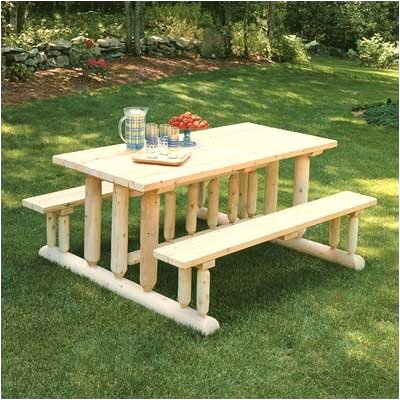 Rustic Natural Cedar Furniture Park Style Picnic Table