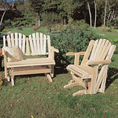 Rustic Natural Cedar Furniture Glider Adirondack Seating Group