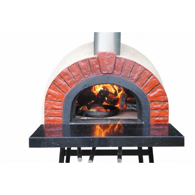 Rustic Natural Cedar Furniture Outdoor Wood Fired Oven with Red Brick Arch