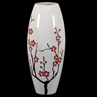 Urban Trends Ceramic Vase White with Cherry Blossom Accent