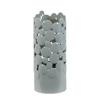 Urban Trends Light Grey Ceramic Vase Cut Design