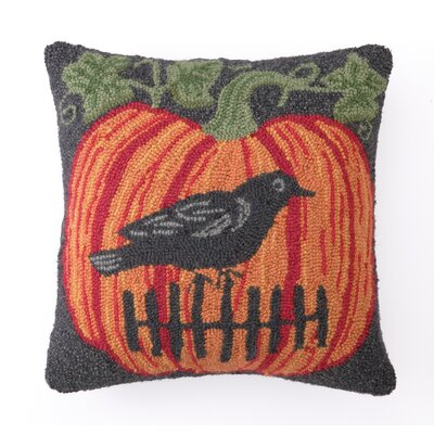 Peking Handicraft Crow on Pumpkin Hook Pillow