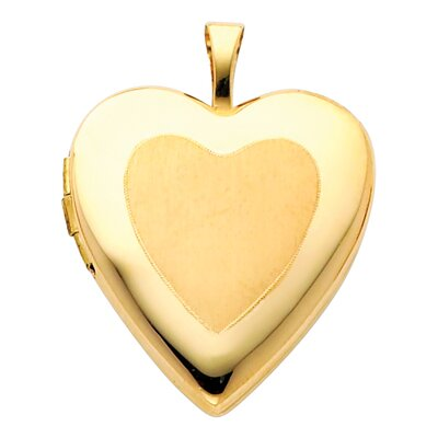 14k Solid Yellow Gold Satin Face Fully Open Close Function Heart Locket Pendant