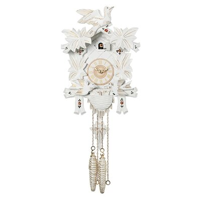 Cuckoo Clock with Moving Birds, Feed Nest Design in White