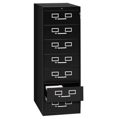 "Tennsco Corp. 7-Drawer Card Cabinet, w/Lock, 19""x28""x52"", Black/Sand"