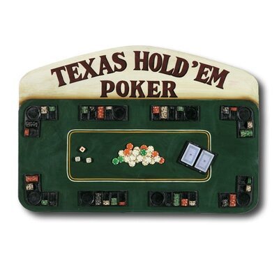 RAM Gameroom Products Hand-Carved Texas Hold'em Poker Sign