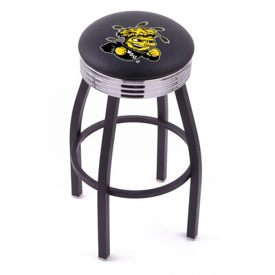 Holland Bar Stool NCAA Single Ring Swivel Barstool with Black Base And Solid Weld Chrome Base