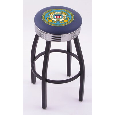 Holland Bar Stool US Military Single Ring Swivel Barstool with Black Base And Solid Weld Chrome Base