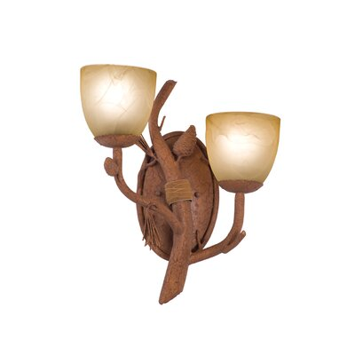 Kalco Ponderosa 2 Light Wall Sconce with Glass Shade