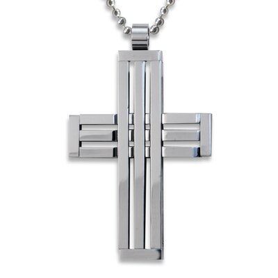West Coast Jewelry Stainless Steel Cross Cut-out Necklace