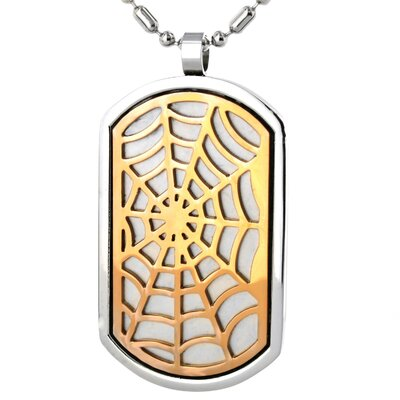 West Coast Jewelry Stainless Steel Web Dog Tag Necklace