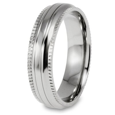 Millgrain Titanium Edge Domed Grooved Polished Ring
