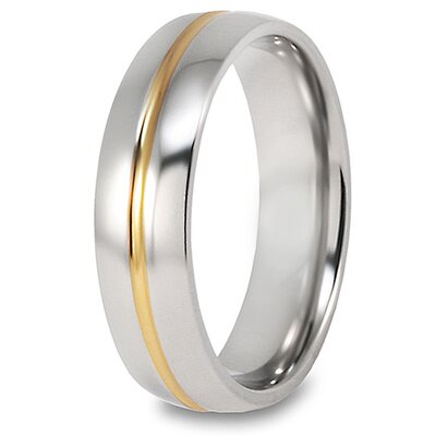 Men's Titanium 14k Goldplated Grooved Polished Ring