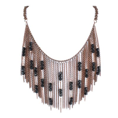 Chain Link and Bead Bib Necklace