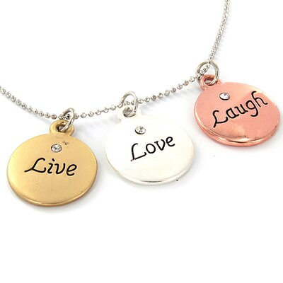 Tri-tone Live Laugh Love Charm Necklace