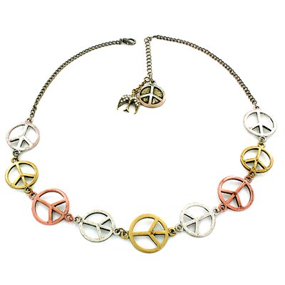 Tri-tone Peace Sign and Dove Charm Necklace