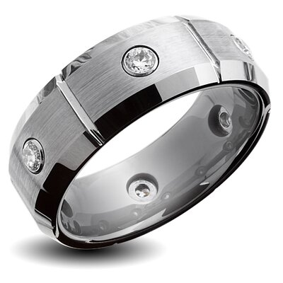 West Coast Jewelry Men's Tungsten Carbide Cubic Zirconia Grooved and Brushed Comfort Fit Ring