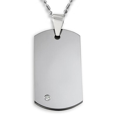 Men's Tungsten Cubic Zarconia Dog Tag Necklace