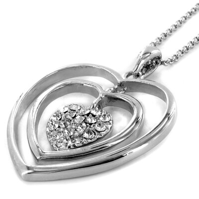 West Coast Jewelry Stainless Steel Triple Heart Necklace