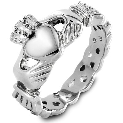 West Coast Jewelry Women's Stainless Steel Heart Cut Claddagh Ring