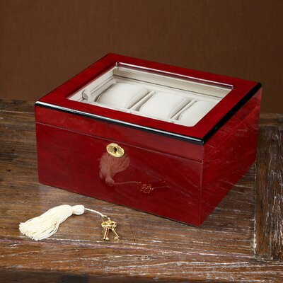Home Loft Concept Watch Box with Glass Top in Cherry