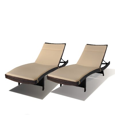 Home Loft Concept Outdoor Wicker Adjustable Chaise Lounge with Cushion (Set of 2)